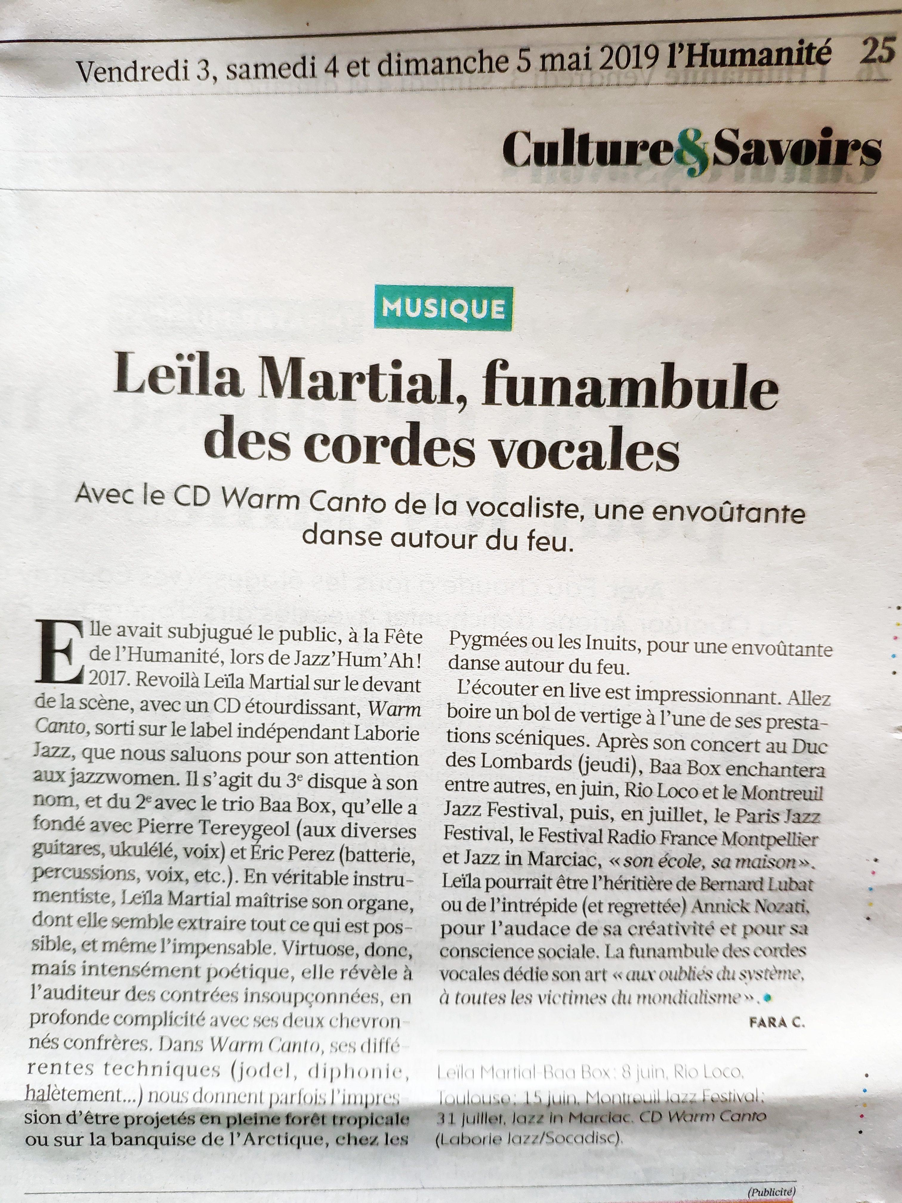 "L'Humanité -Leïla Martial ""Warm canto"""